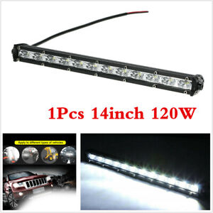 1x 14inch 120W Slim LED CREE Single Row Work Light Bar Spot Offraod Driving Lamp