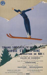 TRAINS SPÉCIAUX DE NEIGE 3e CLASSE Vintage Ski Poster