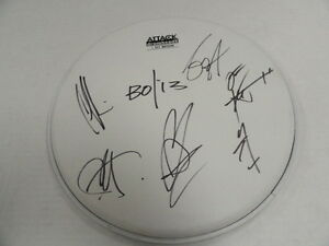 BLUE OCTOBER SIGNED DRUMHEAD JUSTIN FURSTENFELD ALL 5 SWAY PROOF