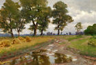 Elegance Oil painting field landscape after rain & trees along the road canvas