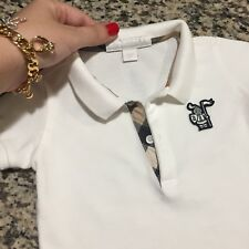 9 Months Authentic Burberry Baby Boy's Polo T-shirt White Check Trim Placket Kid