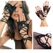 Sexy Lingerie Half Finger Gothic Punk Corset Fishnet Ribbon Gloves Prom Party