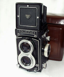 """Rolleiflex T """"White Face"""" with Schneider Xenar 75mm/3.5, with case and strap"""