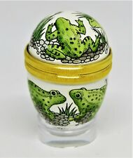 Halcyon Days Enamel Box - Egg With Frogs & Rocks & Reeds - Toads - Acrylic Stand