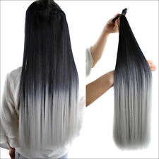 """23"""" 140g 7pcs Black Gray Ombre Full Head Hair Clip In Hair Extensions Hairpiece"""