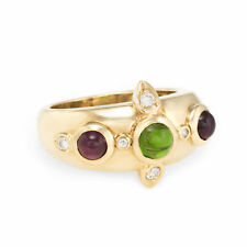 Green Pink Tourmaline Diamond Band Ring Vintage 14k Yellow Gold Estate Jewelry