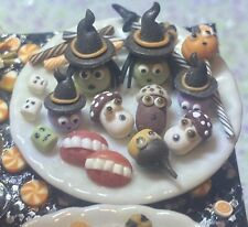Dollhouse Miniature Handmade 'Plate Of Mixed Halloween Treats' 1:12 Halloween