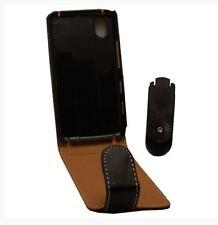 Housse Etui à rabat sur mesure façon cuir noir pour LG KP500