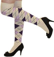 Women Argyle Over The Knee Socks Thigh High Girls Stretchy OTK Socks Fancy Dress