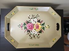Vintage Hand Painted Flowers Gold Nashco Products Metal Serving Tray 20� x 15�