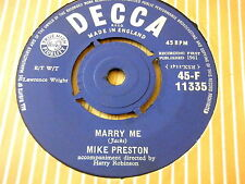 """MIKE PRESTON - MARRY ME / GIRL WITHOUT A HEART    7"""" VINYL"""