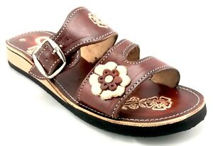 Womens Mexican Handmade Leather HUARACHES Sandals Sandalias Mujer MEXICO Broche