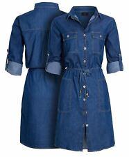 Womens Denim Shirt Dress Cotton Blue Casual Dresses Size 16 10 12 14 8 New