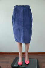 Vtg 90s Retro Womens New Real Leather Suede Blue Knee Pencil Skirt sz M 12 Q86