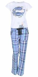 White Top & Blue Checked Bottoms Pyjama Set For Ladies Whale Design Love to