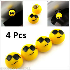 4 Pcs Face Cool Expression Ball Wheel Tyre Tire Valve Stems Air Dust Screw Caps