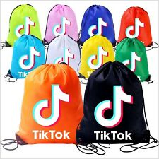 Boys Girls Tik Tok Drawstring Backpack PE Swim Gym Sports School Bag Rucksack UK