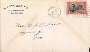 """Cover Canada -1939-  Timmins Ontario cancel on """"Monetta Electric"""" stationary"""