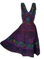 Midi Patchwork Summer Dress Purple Embroidered  Festival One size 10 12 14 16 18