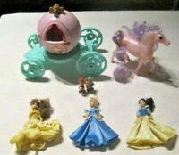 Disney Princess Lot ~ Cinderella with Mice, Belle, Snow White, Horse & Carriage