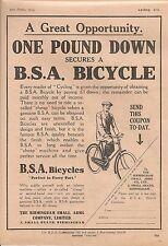 BSA Small Heath Birmingham Bicycle One Pound Down Secures 1914 Vintage Advert