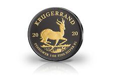 Krugerrand 1 Onza Moneda de Plata 2020 Con Rutenio & Apliques de Oro
