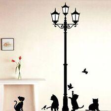 Black Cat Street Lamp Removable Art DIY Decal Wall Stickers Nursery Home Decor