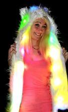 Wolf Light Up LED Long Animal Hat White Fur Black Tip Fuzzy Spirit Hood Mittens