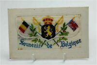 WW1 military postcard silk embroidered Souvenir De Belgique