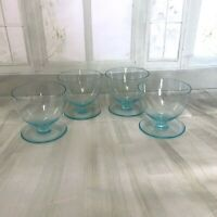Retro Vintage four Glass Dessert Cup Bowl Blue Coloured 1960's