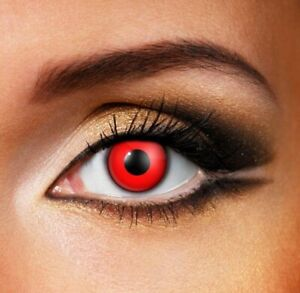 Halloween Red Contacts SHIPS NEXT DAY from USA Scary Devil Cosplay Free Case