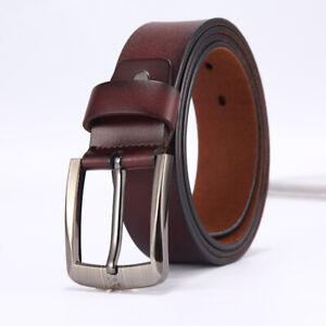 Men's Genuine Leather Dress Belt Casual Pin Buckle Waist Strap Belts Waistband