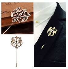 Men Groom Bridal Wedding Suit Chest Brooch Pin Lapel Pin Vintage Lion Sharp Gift