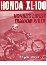 1973 HONDA XL100 XL175 XL250 XL350  2 page Motorcycle Brochure NOS