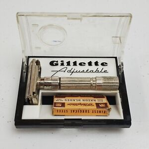 Vintage Gillette Fatboy adjustable safety razor E-2 With Case