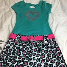 Pinky. Teal and Pink leopard print dress w/ belt L. 10/12
