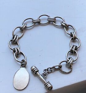 Solid Silver 925 Large Links Toggle Bracelet With Tag Hallmarked