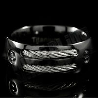 Black Titanium Men Womens Wedding Band Engagement Stainless Steel Comfort Ring