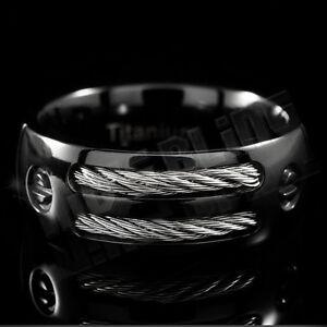 Black Titanium Men Womens Wedding Band Engagement Stainless Steel Comfort Ring