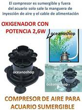 COMPRESOR 2,6W SUMERGIBLE !! Bomba de AIRE Oxigenador AIREADOR de ACUARIO Pecera