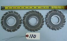 """3 Piece Lot Horizontal Milling Cutters Staggered Tooth Side Mills, 1""""3/4 Arbor"""