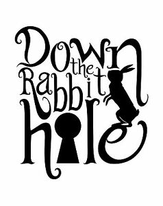 "Alice in Wonderland ""Rabbit Hole"" Typography quote Decal Vinyl Wall Sticker"