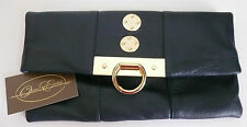 Authentic Onna Ehrlich Ann Clutch Purse Navy Blue Leather NWT