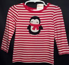 NWT Toddler Girls Gymboree Holiday Penguin Top 12-18m 12m Red White Shirt NEW