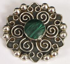 Tm 135 Malachite Brooch Floral ! Vintage Designer Signed Sterling Silver Taxco