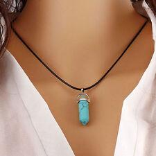 Natural Quartz Crystal Stone Point Chakra Healing Gemstone Pendant Necklace Gift