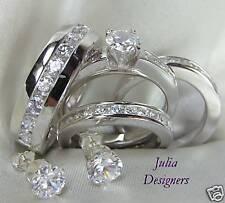 Mens Women Engagement Wedding Band Ring Set, Sz 4½