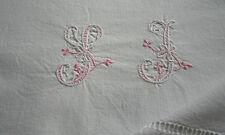 drap ancien, métis, N° 336,  monogramme SJ ,285x180cm , jours, brodé rose