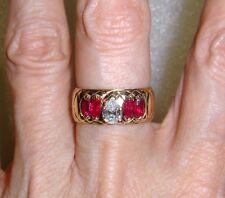 14K YELLOW GOLD VINTAGE DIAMOND RUBY WEDDING BAND RING - SIZE 6  -  LB1792