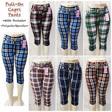 Women's Casual Pull-On Check Pants Leggings with Pockets Capri Length